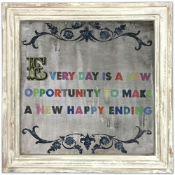 """36"""" x 36"""" Every Day Is A New Opportunity Art Print With White Wash Frame by Sugarboo Designs"""
