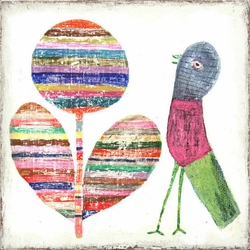 """36"""" x 36"""" Flower And Bird Art Print by Sugarboo Designs"""