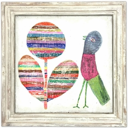 """36"""" x 36"""" Flower And Bird Art Print With White Wash Frame by Sugarboo Designs"""