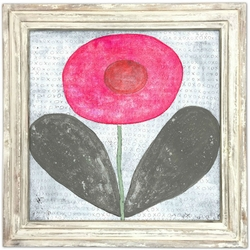 "36"" x 36"" Happy Flower Art Print With White Wash Frame by Sugarboo Designs"