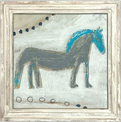 "36"" x 36"" Horse With Blue Mane Art Print With White Wash Frame by Sugarboo Designs"