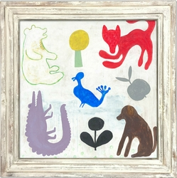 "36"" x 36"" Mr. Boyd's Animals Art Print With White Wash Frame by Sugarboo Designs"