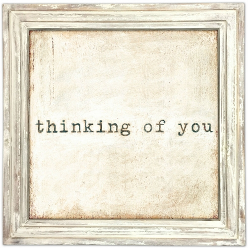 "36"" x 36"" Thinking Of You Art Print With White Wash Frame by Sugarboo Designs"