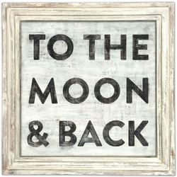 "36"" x 36"" To The Moon And Back Art Print With White Wash Frame by Sugarboo Designs"