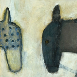 "36"" x 36"" Two Horses Art Print by Sugarboo Designs"