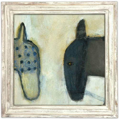 """36"""" x 36"""" Two Horses Art Print With White Wash Frame by Sugarboo Designs"""