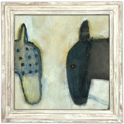 "36"" x 36"" Two Horses Art Print With White Wash Frame by Sugarboo Designs"