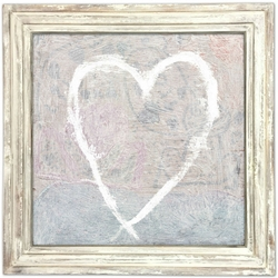 """36"""" x 36"""" White Heart Art Print With White Wash Frame by Sugarboo Designs"""