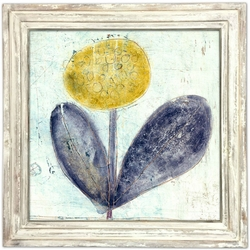 "36"" x 36"" Yellow Flower With Purple Leafs Art Print With White Wash Frame by Sugarboo Designs"