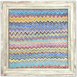 "36"" x 36"" Zig Zag Art Print With White Wash Frame by Sugarboo Designs"