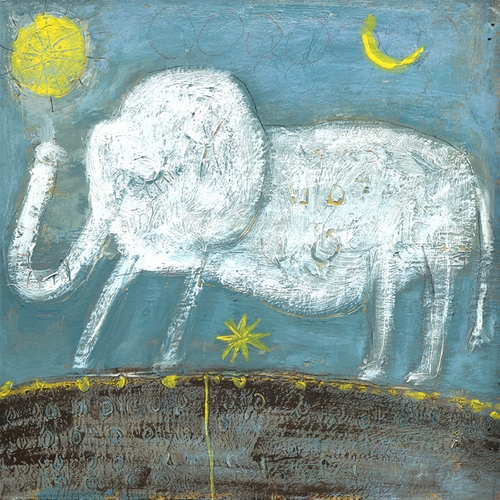 "46"" x 46"" Baby Elephant Art Print Gallery Wrap by Sugarboo Designs"