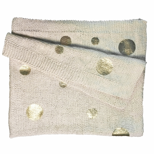 """50"""" x 60"""" Gold Dotted Knit Throw Blanket by Sugarboo Designs"""