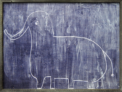 "57"" x 43"" Sophie's Elephant Oversized Art Print with Grey Wood Frame by Sugarboo Designs"