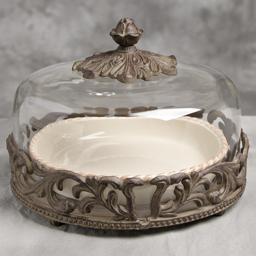 9 in. Covered Pie Plate w/Base-Cream - GG Collection