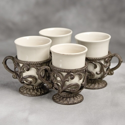 9 oz. Cups w/ Holder-Set of 4-Cream - GG Collection