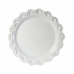 "(A) Baroque White Charger Plate 13.75""D - Set of 4 - Intrada Italy"
