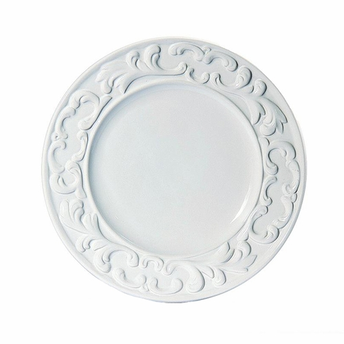 """(A) Baroque White Dinner Plate 11"""" - Set of 4 - Intrada Italy"""
