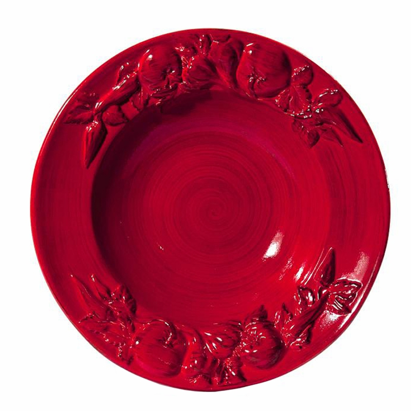 A Baroque Red Large Salad Bowl With Fruits 17 5 D