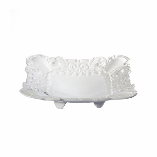 "(A) Baroque White Square Footed Shallow Bowl 10""W - Set of 4 - Intrada Italy"