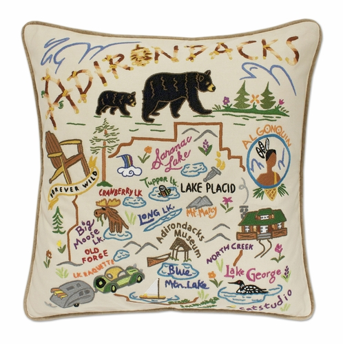 Adirondacks XL Hand-Embroidered Pillow by Catstudio (Special Order)