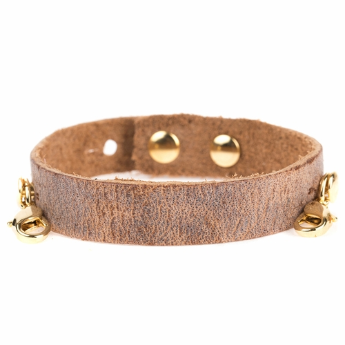Aged Chestnut Refined Cuff - Antique Gold  - Lenny & Eva