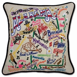 Alabama XL Hand-Embroidered Pillow by Catstudio (Special Order)