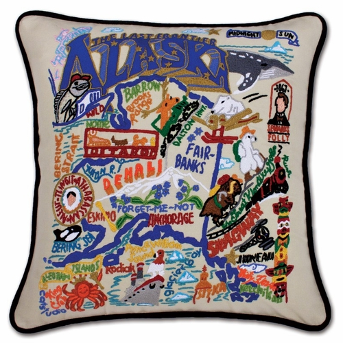 Alaska XL Hand-Embroidered Pillow by Catstudio (Special Order)