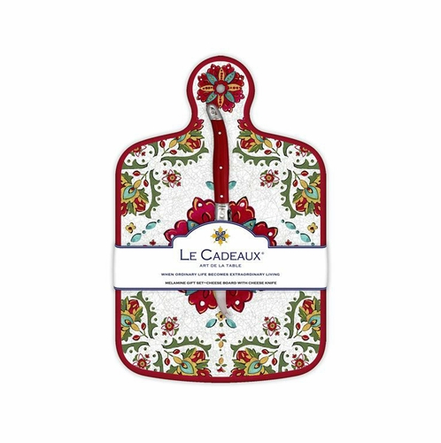 Allegra Red Cheese Board With Knife by Le Cadeaux - Special Order