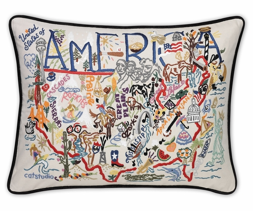 America XL Hand-Embroidered Pillow by Catstudio (Special Order)