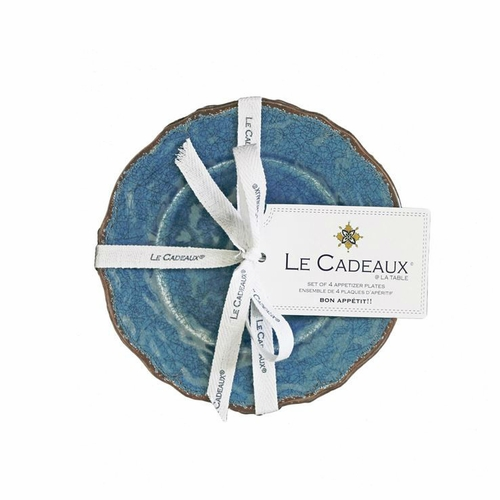 Antiqua Blue Appetizer Plates (Set of 4) by Le Cadeaux