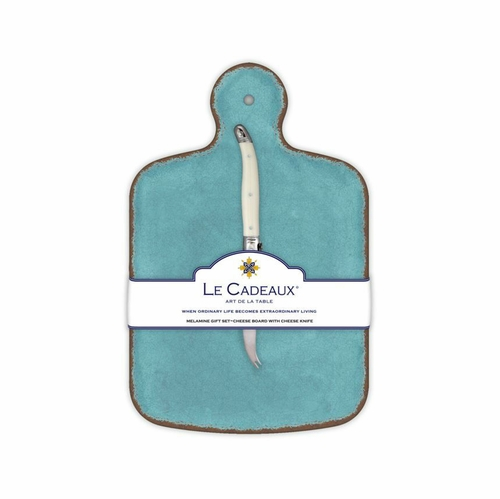Antiqua Turquoise Cheese Board With Knife by Le Cadeaux