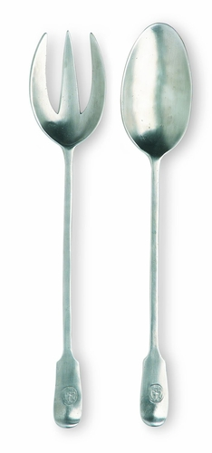 Antique Serving Fork & Spoon by Match Pewter - Special Order