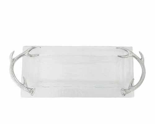 Antler Oblong Glass Tray by Arthur Court
