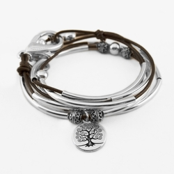April with Tree of Life Charm Metallic Bronze Medium Bracelet by Lizzy James