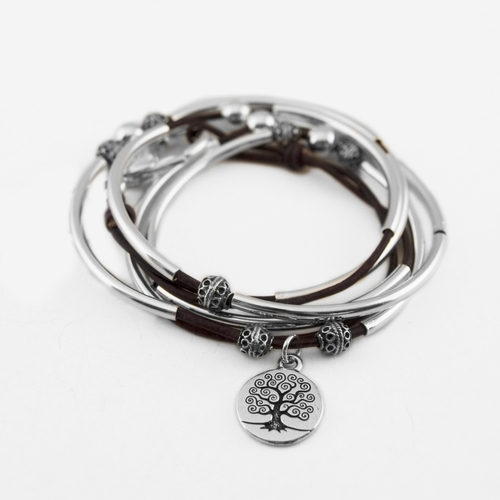 April with Tree of Life Charm Natural Purple Medium Bracelet by Lizzy James
