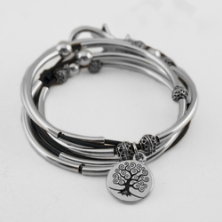 April with Tree of Life Charm Natural True Blue Large Bracelet by Lizzy James