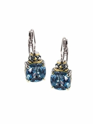Aqua Anvil Square Cut Earrings by John Medeiros