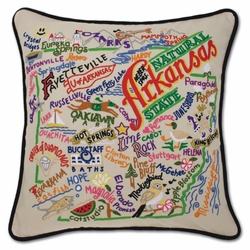 Arkansas XL Hand-Embroidered Pillow by Catstudio (Special Order)
