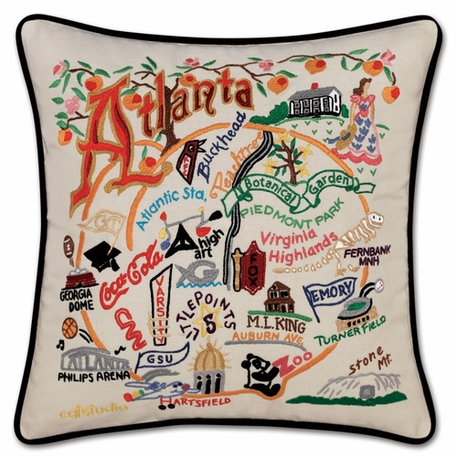 Atlanta XL Hand-Embroidered Pillow by Catstudio (Special Order)