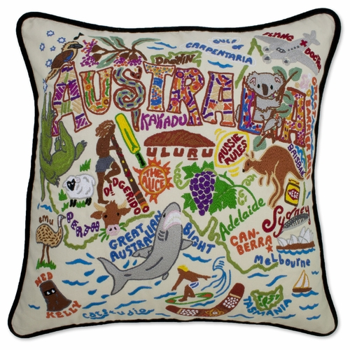 Australia XL Hand-Embroidered Pillow by Catstudio (Special Order)