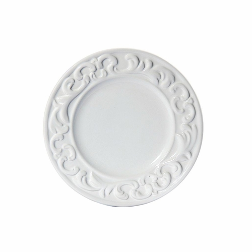 "(B) Baroque White Salad Plate 8.5""D - Set of 4 - Intrada Italy"