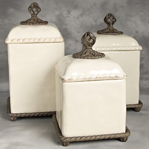 Barcelona cream canister set gg collection for Cream kitchen set