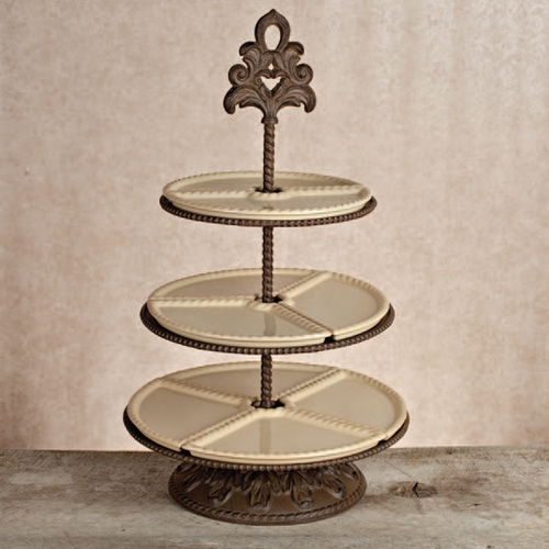Baroque 3 Tiered Server - Cream - GG Collection