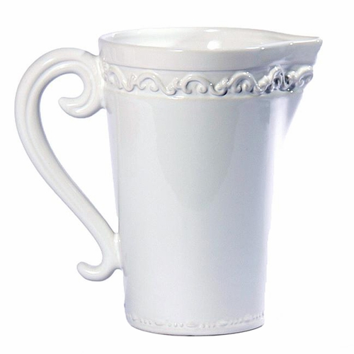 "Baroque White Pitcher 9""H - Intrada Italy"