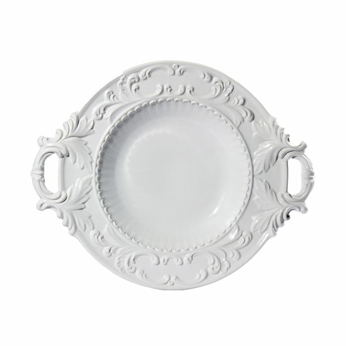 """Baroque White Round Bowl with 2 Handles 21"""" - Intrada Italy"""