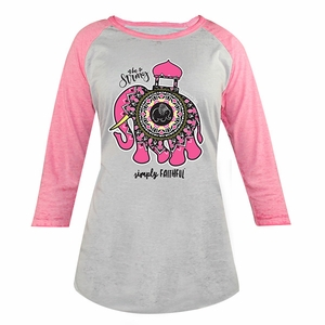 Be Strong Gray and Pink Simply Faithful Long Sleeve Tee by Simply Southern