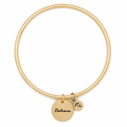 """Believe"" Token Bangle - Gold - Lenny & Eva"