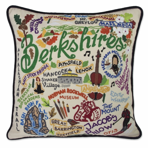 Berkshires XL Hand-Embroidered Pillow by Catstudio (Special Order)