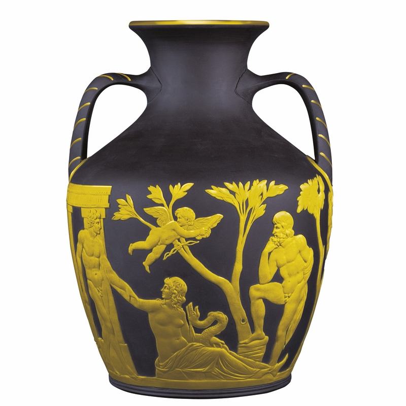 Black Basalt Portland Vase Gilded On Black By Wedgwood
