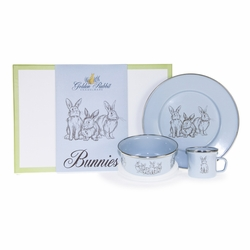 Blue Bunnies 3-Piece Child Gift Set by Golden Rabbit